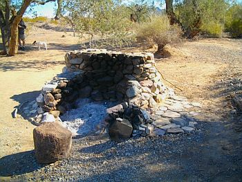 This amazing firepit/fireplace was down along the lower edge of the wash and looked recently used.