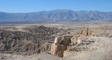 Looking down at Borrego sink from the top of Fonts Point.