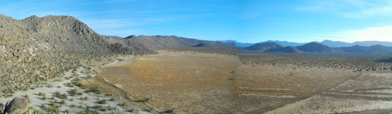 Looking south into the dry lake bed of Blair Valley, the path extending to the right is the Butterfield trail.