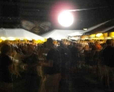 BrewFest under an artificial moon. Is that Mothra hovering overhead? Must have been attracted by that false moon!