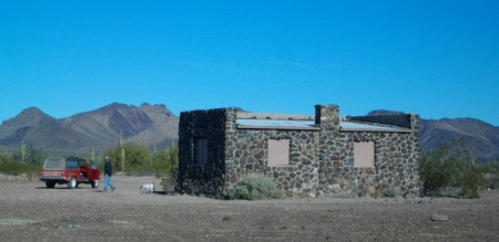 Kofa cabin, built by the CCC in the late 30's. Half of it is open to the public to visit or camp overnight.