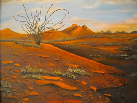 Another painting, depicting an ocotillo.