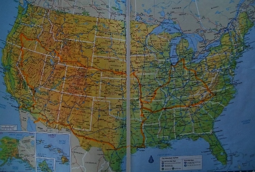 Our route around the country in 2013. Nineteen states and a short sojourn into Mexico!