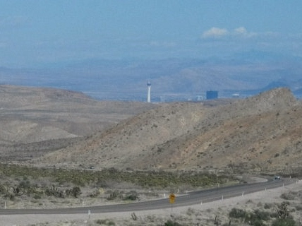 As we descended the Spring Mountains into the Las Vegas Valley we got glimpses of the tower, the Statosphere, in the distance.
