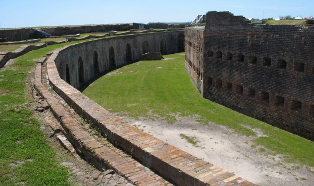 Up on the ramparts looking into the interior parade ground.