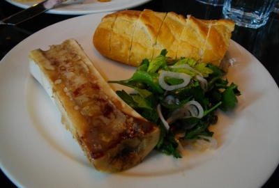 The roasted bone marrow appetizer when spread onto the crusty bread was fabulous!